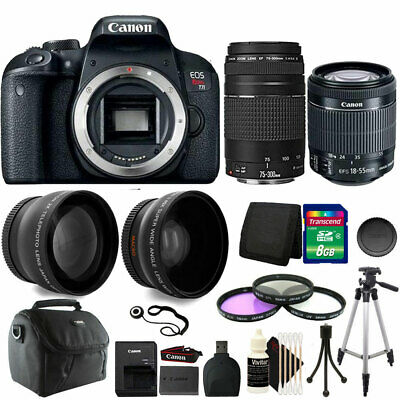 Canon EOS Rebel T7i Camera w/ 18-55mm and 75-300mm Lens + Canon Case + Kit