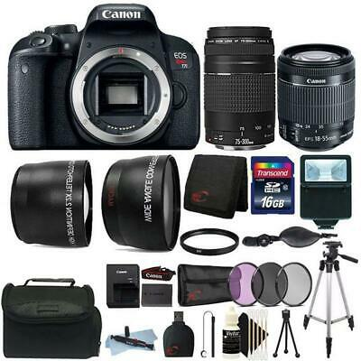 Canon EOS Rebel T7i DSLR Camera w/ 18-55mm and 75-300mm Lens + Accessory Bundle