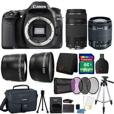 Canon EOS 80D Camera w/ 18-55mm Lens , 75-300mm Lens , Canon Case & Accessories