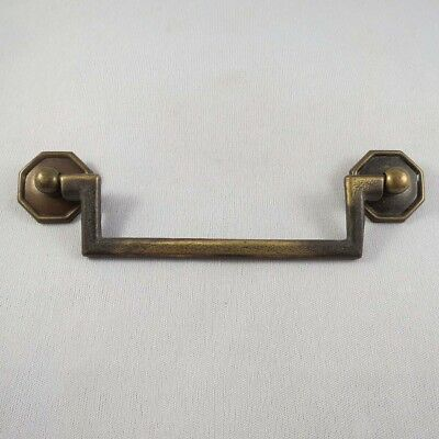 Vintage Solid Brass Furniture Pull, Handle, Hardware, Octagonal Roset