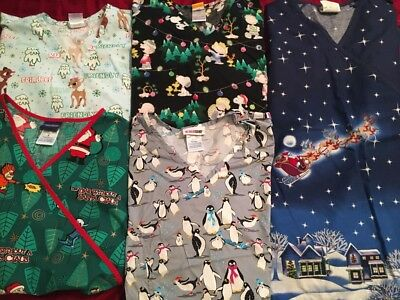 Lot of 5 size small Christmas scrub tops