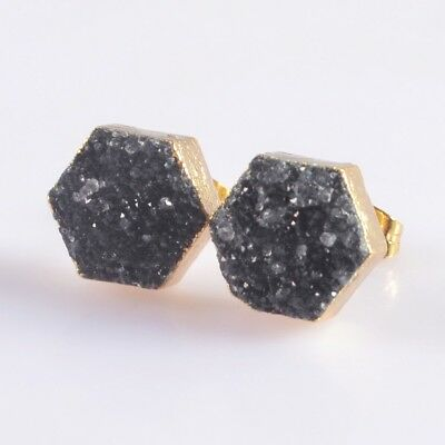 10mm Hexagon Black Agate Druzy Geode Stud Earrings Gold Plated B049954