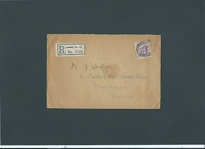London 1910 KEVII 6d Registered Cover REGISTERED FLEET ST.B.O.E.C oval to France