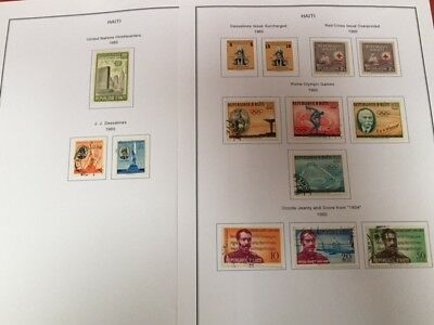 Collection of 1960's stamps from Haiti on 2 printed sheets
