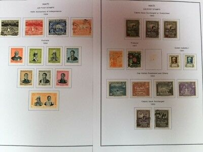Collection of 1950's stamps from Haiti on 2 printed sheets