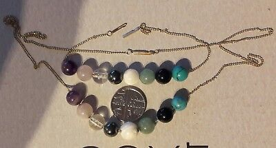 14kt gold bracelet & necklace set with semi precious stones turquoise onyx etc