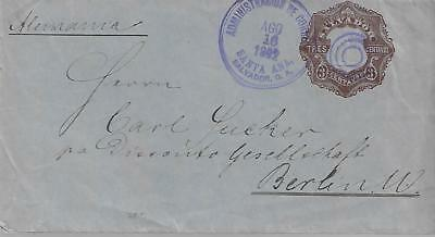 EL SALVADOR 1892 3c POSTAL STATIONERY COVER TO GERMANY REF 104