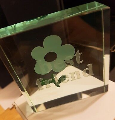 3D Crystal Laser Block 'Best Friend' with Flower Design Giftboxed