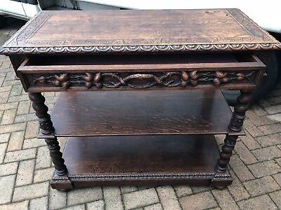 Antique French Oak Highly Carved Hall Table