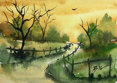 ACEO Original Art Watercolour Painting by Bill Lupton - Sky of Gold