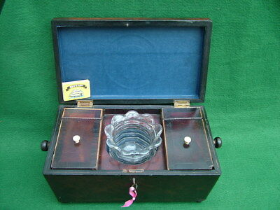 3 SECTION C19th MAHOGANY ROSEWOOD BANDED TEA CADDY HINGED CANISTERS MIXING BOWL