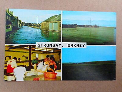 Stronsay,Orkney. Colour Postcard Multi-view 1970s. Factory,Flooded Street.