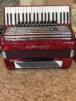 Weltmeister Consona Red Accordion,120 Bass,including Case