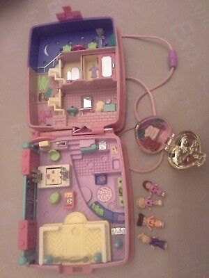Vintage Polly Pocket Bluebird Candy Box 4 Figures & Gold Colour Locket