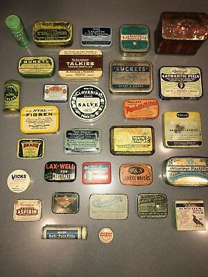 Lot of 30 Vintage Antique Pill Boxes Containers Tins - Collectors Items