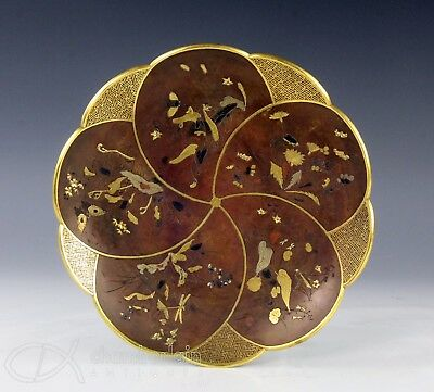 Fine Antique Japanese Bronze Mixed Metal Inlaid Plate Dish - Signed