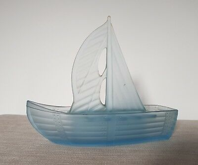 Art Deco Sailing Boat Centrepiece Frosted Glass Carlshutte Reg. No. 812656