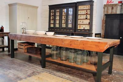 Large Table Kitchen Island/Workbench/Butchers Block Vintage Chippy Industrial