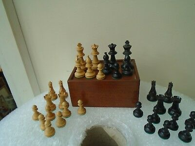 vintage/antique hand carved wooden chess set in lovely wooden box   NICE LOT