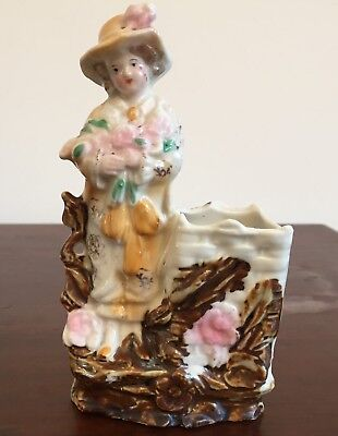 Match Holder/Striker - German, Flower Lady,  Rustic, Only The Front Is Decorated