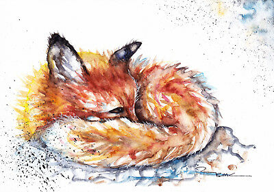 Original Watercolour Watchful Fox Painting by Artist Be Coventry Wildlife Art