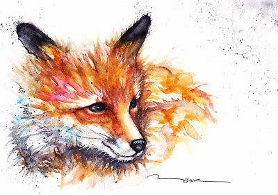 Original Watercolour Lazy Fox Painting by Artist Be Coventry Wildlife Art