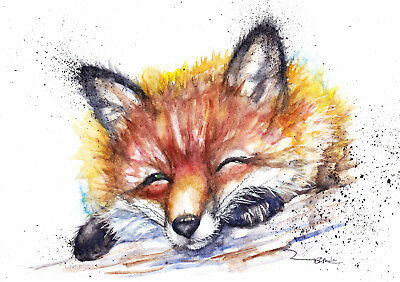 Original Watercolour Fox Painting by Artist Be Coventry Wildlife Art