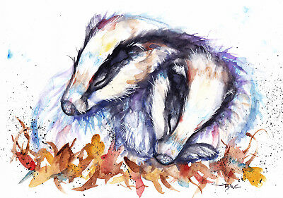 Original Watercolour Badgers Painting by Artist Be Coventry Wildlife Art