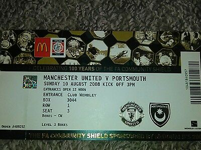Manchester United v Portsmouth Charity Shield 10/8/2008 MINT CONDITION/BARGAIN.