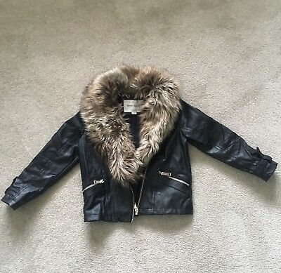 Girls River Island Jacket Fur Trim Hood Age 7