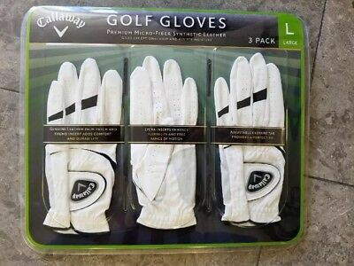 NEW Callaway Premium Micro-Fiber Synthetic Leather Golf Gloves 3 pack Large