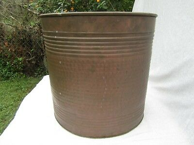 "Extra Large Vintage Hammered Brass Wall Drum Shaped Planter 16"" x 16"""