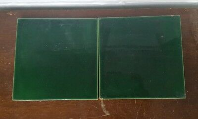 Antique Victorian? Pair Of 2 Gloss Tiles Green Early Ceramic Tile By Minton
