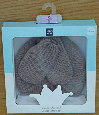 M&S Baby girls hat and mittens set