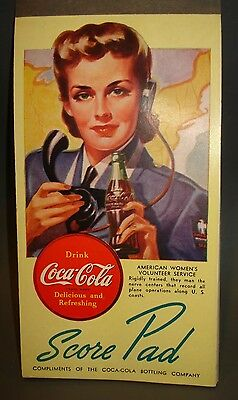 1950's compliments Bridge card game note pad COCA COLA SODA POP advertising sign