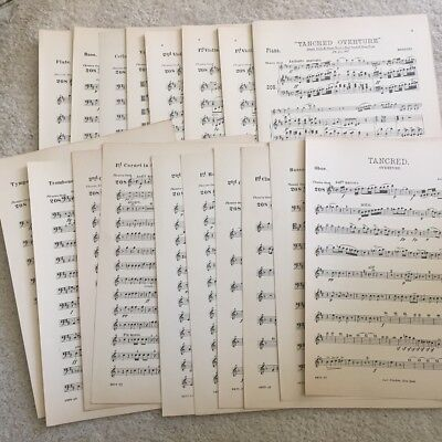 """Tancred Overture"" Rossini, Vintage Orchestra Sheet Music 1891"