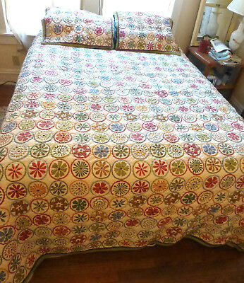 LL Bean Blooming Circles King Quilt and Bedspread with 2 shams