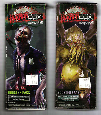 HORROR CLIX  LOT of 2 UNOPENED BOOSTER PACKS - WIZKIDS - NEW OLD STOCK!