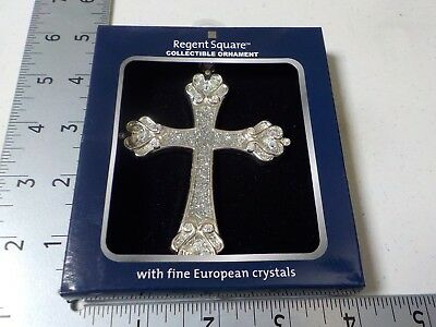Regent Square Collectible Ornament Silver Cross Sparkle Christmas New #5015