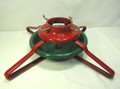 "Vintage Large Metal Christmas Tree Stand Holder Red & Green 22"" total width"