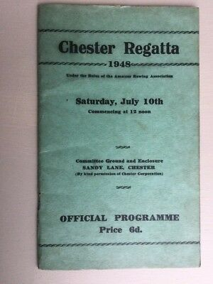 Very Rare - Chester Regatta Sat July 10Th 1948 Official Programme (Rowing) -Good