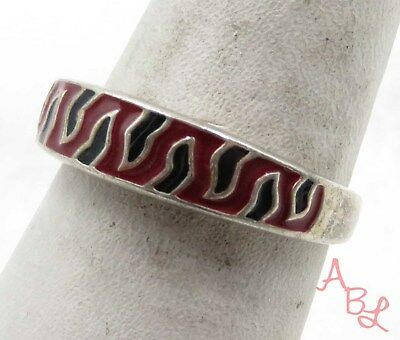 Sterling Silver Vintage 925 Enamel Flames Band Ring Sz 7.75 (4.2g) - 575589