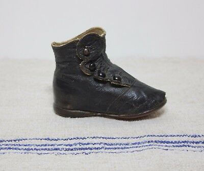 1 Antique Victorian Baby Button Up Shoes Boots For Doll Or Child Black Leather