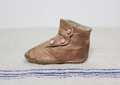 1 Antique Victorian Baby Button Up Shoes Boots For Doll Or Child Pink Leather