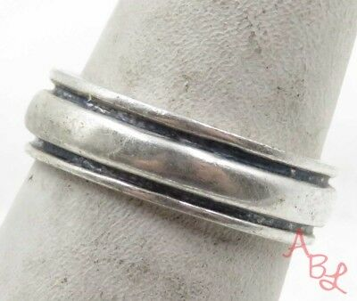 Sterling Silver Vintage 925 Trimed Band Ring Sz 7 (4.1g) - 575615