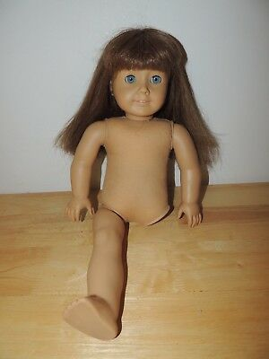 American Girl Pleasant Company Doll for parts -Brunette, Blue Eyes Needs TLC!