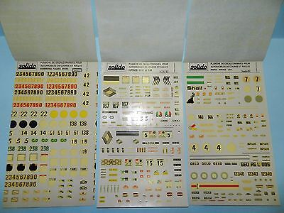 Solido Decal Sets B,C and D plus set by Unknown Manufacturer.