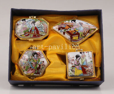 4 Authentic Chinese Porcelain Box Craft Gift Beauty Collection