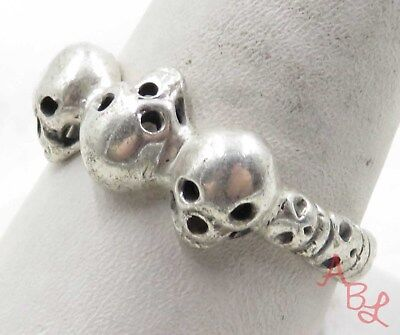 Sterling Silver Vintage 925 Three Skulls Band Ring Sz 11 (4.3g) - 575633