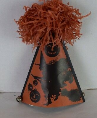 Vintage HALLOWEEN Paper Hat 1920's Bells KIRBY MANUF Middletown CT WITCH Broom